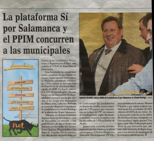 Navasfrias - Plataforma si por salamanca y ppim concurren a las elecciones municipales